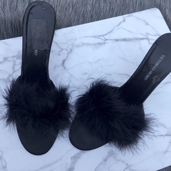 e3802c0c92 Victoria's Secret Shoes   Victorias Secret Black Fur Kitten Heels ...